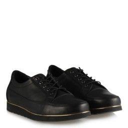 Siyah Bağcıklı Hakiki Deri Ayakkabı
