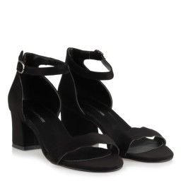 Az Topuklu Ayakkabı Siyah Süet Dalgalı