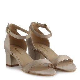 Topuklu Sandalet Vizon Süet Dalgalı