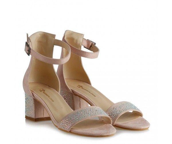 Az Topuklu Ayakkabı Pudra Süet Taşlı