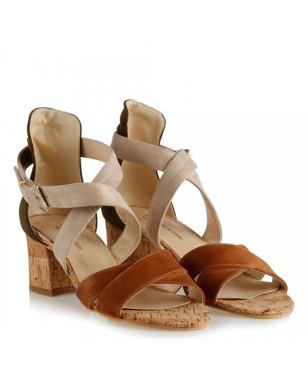 Az Topuklu Sandalet Ayakkabı Taba Bej