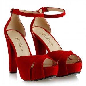 Platform Ayakkabı Modelleri Kırmızı Süet