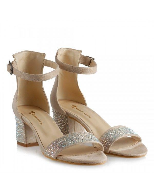 Az Topuklu Ayakkabı Bej Taşlı Model
