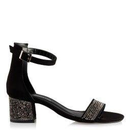 Az Topuklu Ayakkabı Siyah Süet Taşlı