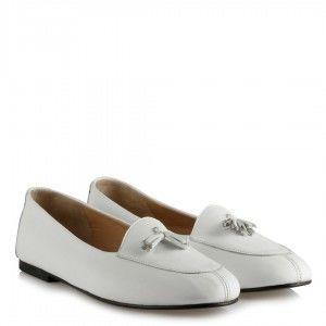 Beyaz Hakiki Deri Püskül Babet Ayakkabı