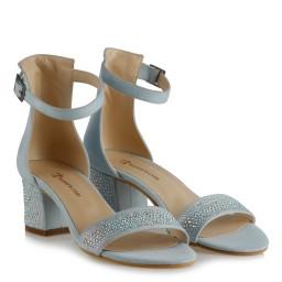 Az Topuklu Ayakkabı Bebe Mavi Süet Taşlı
