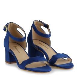 Az Topuklu Ayakkabı Saks Mavi Süet Dalgalı