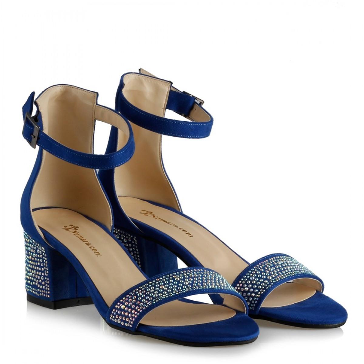 Az Topuklu Ayakkabı Saks Mavi Süet Taşlı