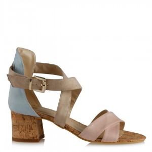 Az Topuklu Sandalet Ayakkabı Pudra Bebe Mavi
