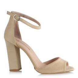 Bej Süet Topuklu Ayakkabı Bilekli