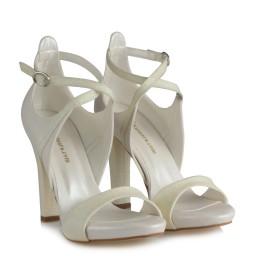 Gelin Ayakkabısı Çapraz Kemer Simli