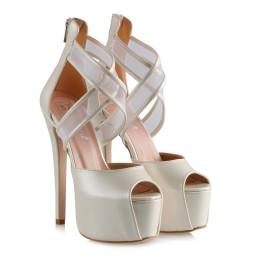 Свадебная Обувь На Платформе С Перекрещенными Полосками И Сеткой