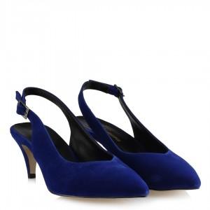 Stiletto Saks Mavi Süet Arkası Açık