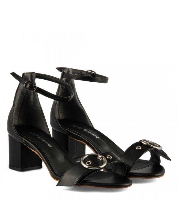 Topuklu Sandalet Siyah Kemer Tokalı