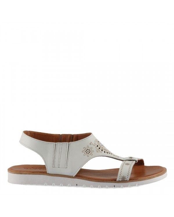 Deri Sandalet Beyaz Desenli