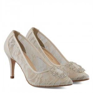 Dantelli Taşlı Stiletto Gelinlik Ayakkabısı