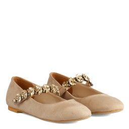 Babet Ayakkabı Vizon Süet Taşlı Kemerli