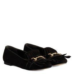 Babet Ayakkabı Siyah Süet Püsküllü
