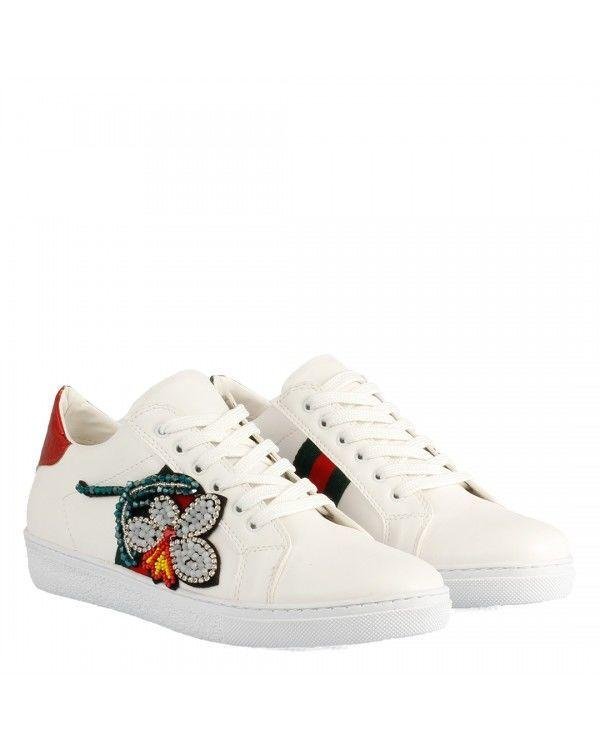 Sneakers Spor Ayakkabı Yaprak Taşlı