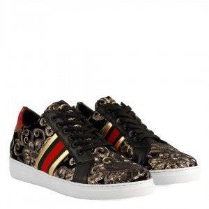 Sneakers Spor Ayakkabı Siyah Desenli