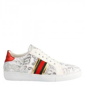 Beyaz Desenli Sneakers Spor Ayakkabı