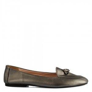 Loafer Babet Ayakkabı Platin Hakiki Deri