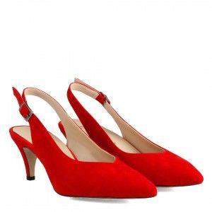 Stiletto Kırmızı Süet Arkası Açık