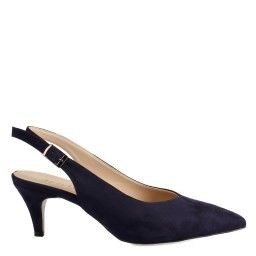 Arkası Açık Ayakkabı Stiletto Lacivert Süet