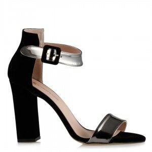Topuklu Ayakkabı Siyah Süet Füme Bantlı