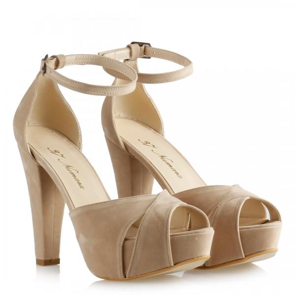 Bej Süet Platform Ayakkabı