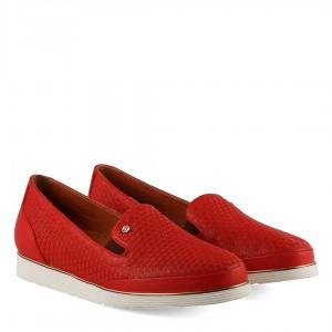 Düz Rahat Ayakkabı Deri Kırmızı