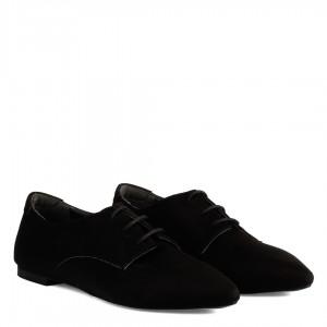 Günlük Ayakkabı Siyah Süet Bağcıklı Sivri Burun