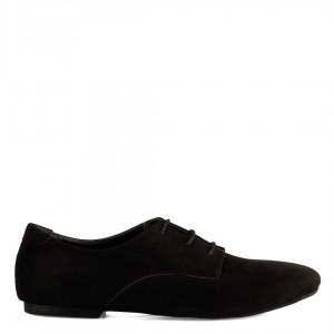 Günlük Düz Ayakkabı Bağcıklı Model Siyah Süet