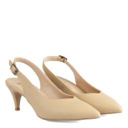 Stiletto Ayakkabı Arkası Açık Bej