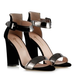 Heeled Shoes Black Suede Smoked Grey Banded