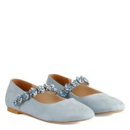 Babet Ayakkabı Bebe Mavi Taşlı Babet