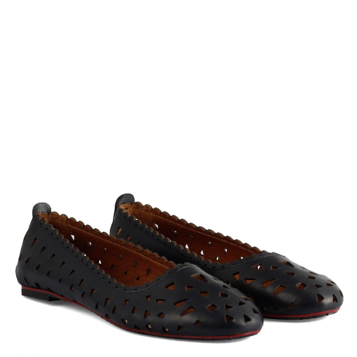 Babet Ayakkabı Delikli Lacivert Deri