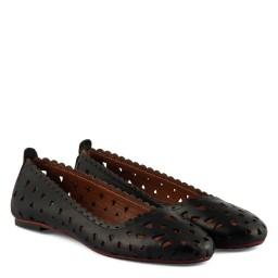 Babet Ayakkabı Delikli Siyah Deri