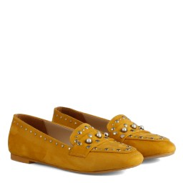 Babet Ayakkabı Sarı Süet Zımbalı Model