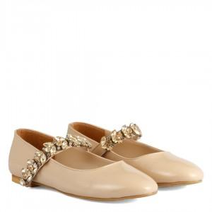 Babet Ayakkabı Ten Rugan Taşlı Kemer