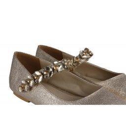 Babet Ayakkabı Dore Damarlı Taşlı Kemerli