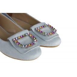 Bebe Mavi Babet Ayakkabı Taşlı Tokalı