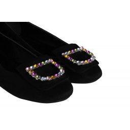 Babet Ayakkabı Taşlı Siyah Süet Tokalı