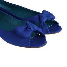 Babet Ayakkabı Burnu Açık Saks Mavi Süet