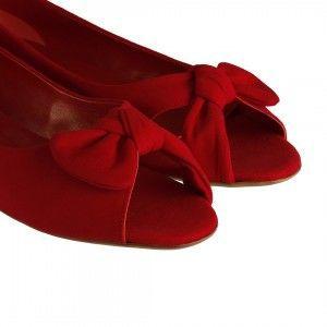 Babet Ayakkabı Burnu Açık Kırmızı Süet