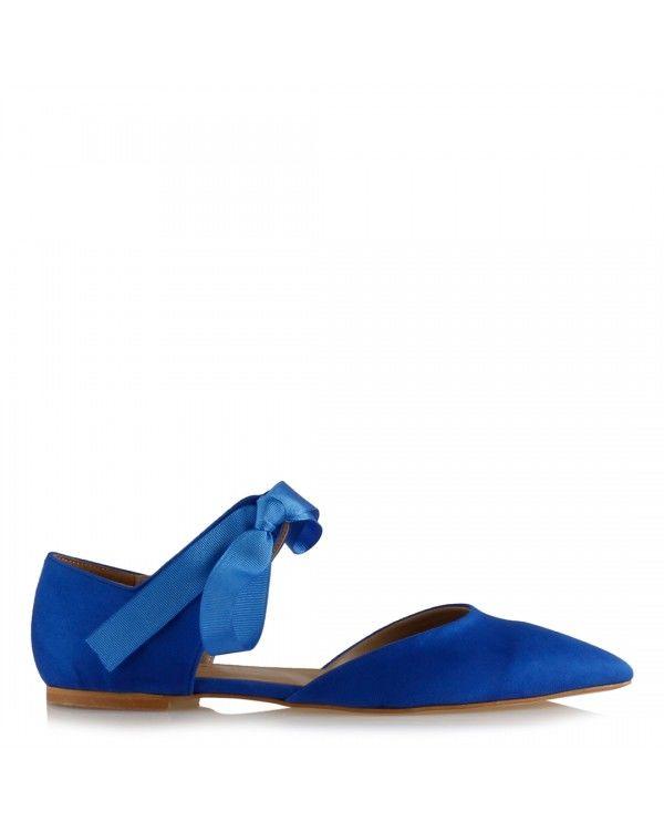 Babet Ayakkabı Saks Mavi Süet Bağcıklı