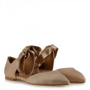 Babet Ayakkabı Vizon Süet Bağcıklı