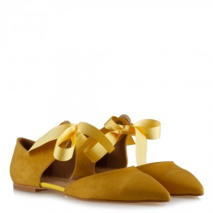 Babet Ayakkabı Sarı Süet Bağcıklı