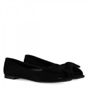 Burnu Açık Babet Ayakkabı Siyah Süet