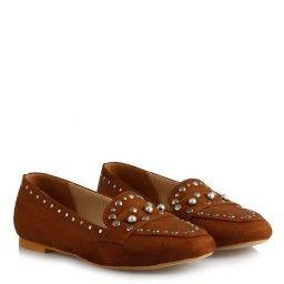 Babet Ayakkabı Taba Süet Zımbalı Model